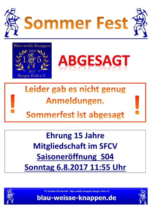 Sommerfest Absage